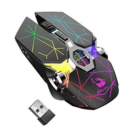 Ratón inalámbrico para juegos, RGB multicolor recargable y silencioso, accesorios para ordenador,...