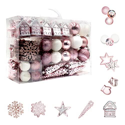 Juego de 113 bolas de Navidad de plástico rosa y blanco, decoración para árbol de Navidad, en...
