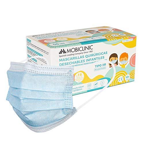 Mascarillas Quirúrgicas Infantiles IIR, 50 uds, Mobiclinic, Marca Española, Mascarillas médicas...