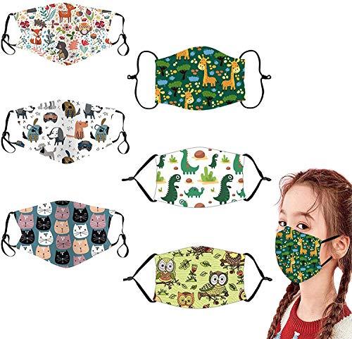 GXZOCK 6 piezas Reutilizables Niños Cara Lavables Algodón facial Unisex para Interiores y...