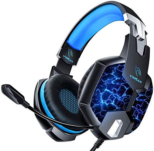 Auriculares Gaming PS4, YINSAN Cascos Gaming Premium Estéreo con Micrófono, 7 Luces LED y Orejeras...
