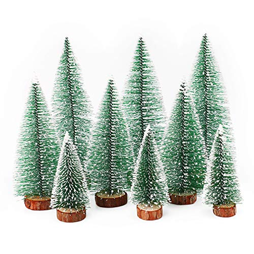 Herefun Mini Árbol de Navidad, 9Pcs Árbol de Navidad Artificial, Mini Navidad Verde Árbol...