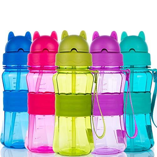 Botella de Agua Niños y Niñas 300 ml Sin BPA Botella de Agua Deporte con Pajita y Correa para...