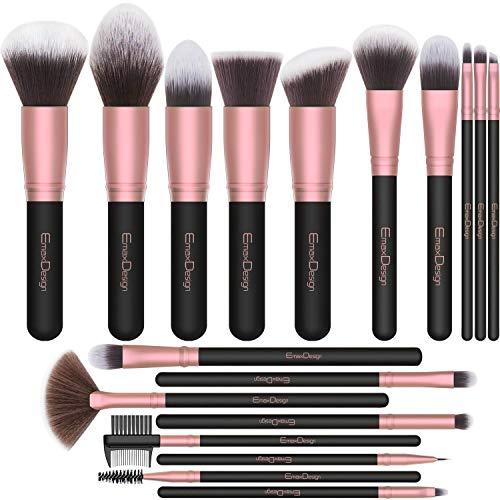 Brochas de Maquillaje EmaxDesign 18 pcs Juego de brochas de maquillaje profesional Premium...
