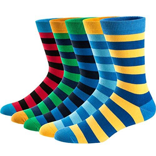 Ueither Calcetines Estampados Hombre Casuales Divertidos Calcetines altos de Colores con Algodón...