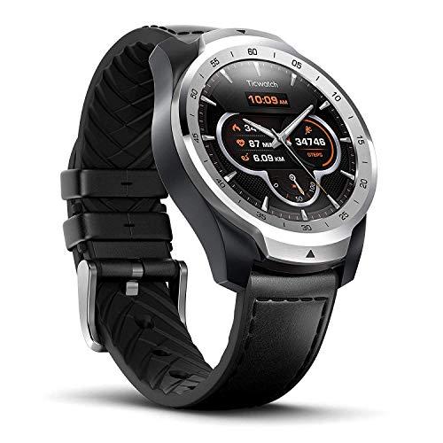 Ticwatch Reloj Inteligente Pro con Bluetooth, Pantalla en Capas, Asistente Google, medidor de Ritmo...