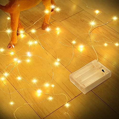 Guirnalda Luces Pilas, Romwish 12M 120 LED Luces de Cadena de Guirnaldas Decoracion Cobre para...