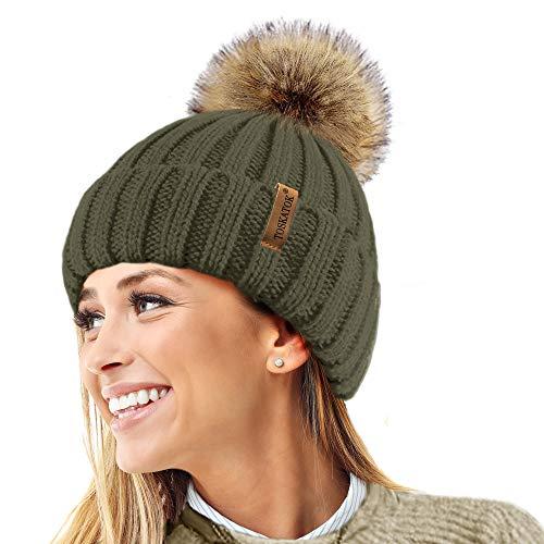 TOSKATOK® Invierno de Las Mujeres Costilla Punto Hat/Beanie con Desmontable de Piel Falsa Chunky...