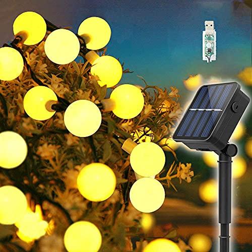 Guirnaldas Luces Exterior Solar, 60LED 11M Luces Solares Led Exterior Jardin con USB energizado por,...