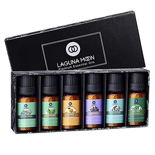 Lagunamoon Aceites Esenciales, Top 6 Set de Regalo de Aceites de Aromaterapia de Lavanda Eucalipto...