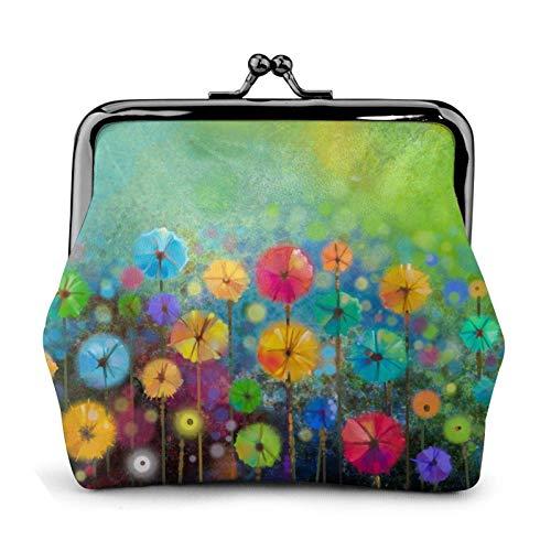 Primavera Petal Flores Impreso Mini Monedero Pu Cuero Billetera Embrague Bolsa con Beso Cierre