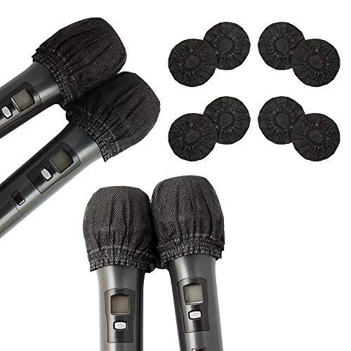 Paquete de 200 fundas desechables para micrófono no tejido cubierta de micrófono de mano tapa...