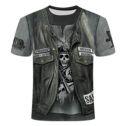 Camisetas Manga Corta Hombre Heavy Metal Music Cool Classic Rock Band Skull Head Moda Hombre 3D DJ...