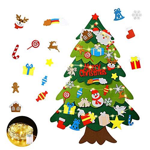 Mgrett Fieltro Árbol de Navidad, Árbol de Navidad de Fieltro DIY 32 Unids, Navidad Decoración...