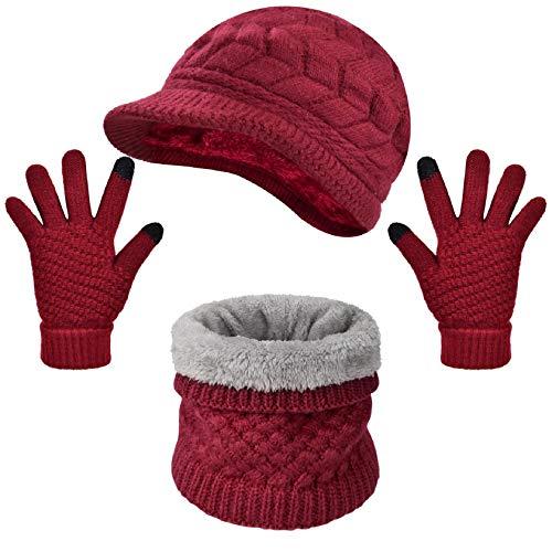 Tuopuda Crochet Invierno Beanie Gato Gorro de Punto Caliente Cozy Mujeres Grande Sombrero Moda...