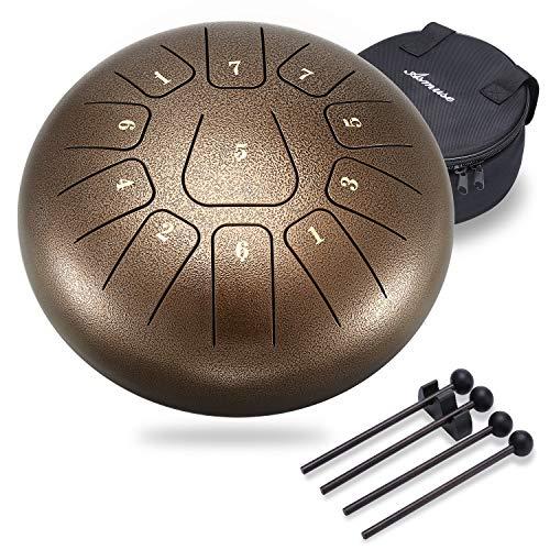 Asmuse Tambor de Lengüeta de Acero Inoxidable 10 Pulgadas y 11 Teclas Instrumento de Percusión...