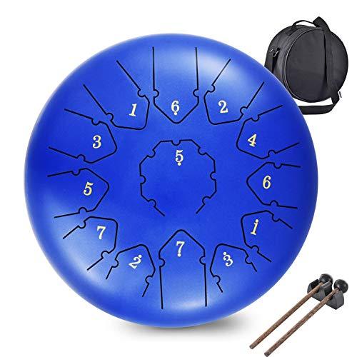 Tambor Handpan Drum,WZTO 13 Notas 12 Pulgadas Tambor de Lengüetas Tongue de lengüeta de Acero...