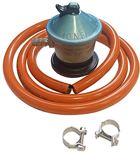 Regulador gas butano Con Salida de 30 mbar + tubo goma 1.5 metros + 1 abrazadera, Kit Homologado de...