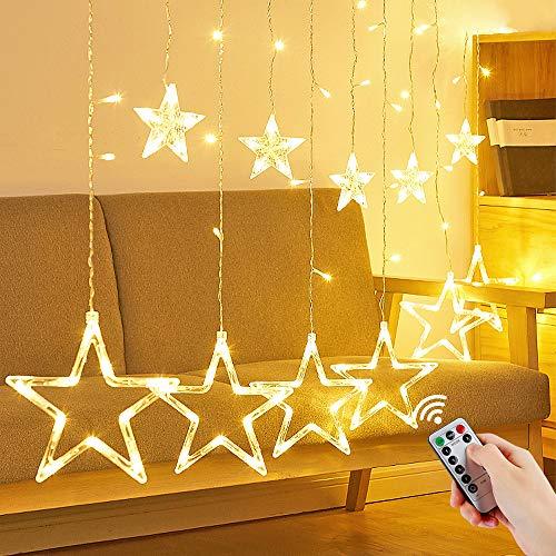 Luces de Cortina de Estrella, 12 Estrellas 138 LEDs Estrella Guirnalda, Luces de Cadena Estrelladas,...