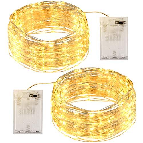 Guirnalda Luces 12M 120 LED, OMERIL Luces LED Pilas 2 Pack, Luces Navidad de Cálida Amarilla y...