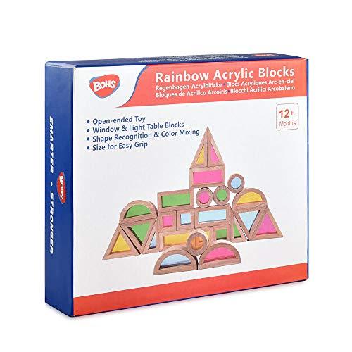BOHS Bloques Sensoriales Arcoíris (24 Piezas) - Juguetes de Madera para niños pequeños - Jugar en...