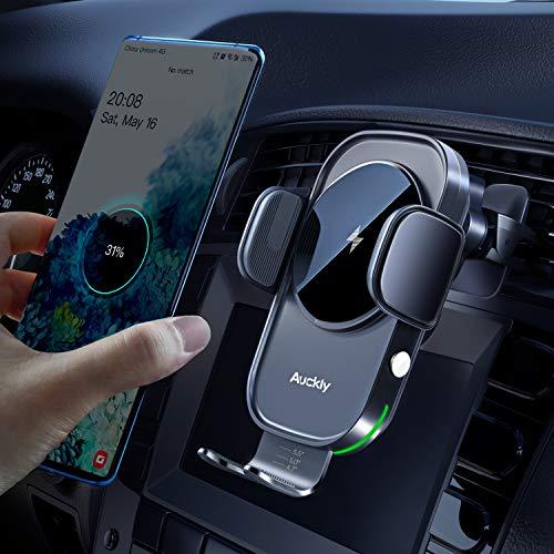 Auckly Qi 15W Cargador Inalámbrico Coche,Wireless Car Charger Soporte con Bloqueo Automático...