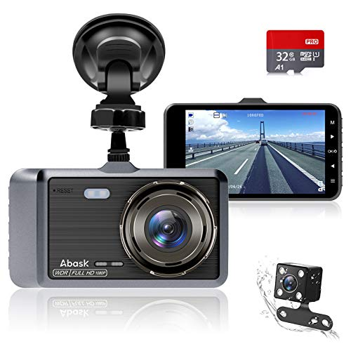 Cámara de Coche, Abask Dash CAM 4' Visión Nocturna Full HD 1080P, 170° Gran Ángulo Cámara de...