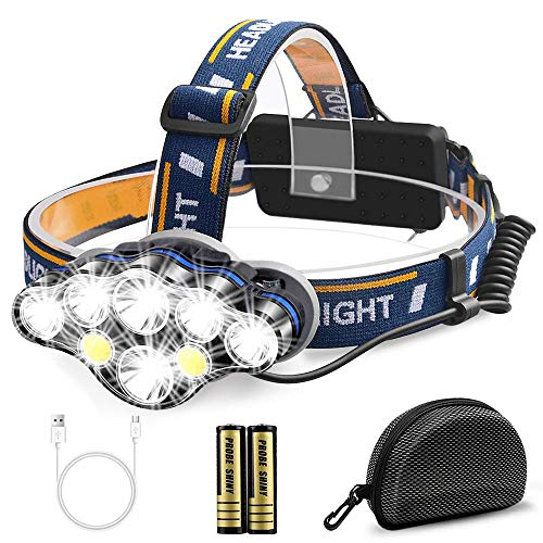 Migimi Linterna Frontal Alta Potencia, Lámpara de cabeza 13000 Lúmenes USB Recargable Led...