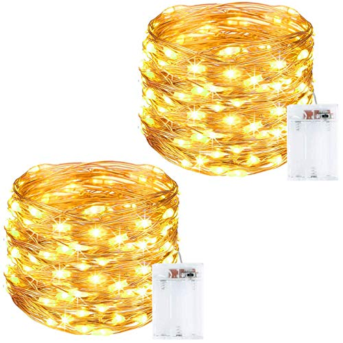 Litogo Guirnalda Luces Pilas, Luces LED Pilas [2 Pack], LED luces decorativas habitacion 10m 100 LED...