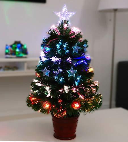 Christmas Concepts® 2FT árbol de Navidad de Fibra óptica Verde con Estrellas y chucherías y Base...