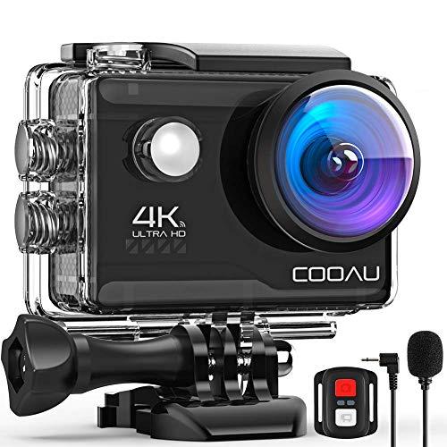 COOAU Action CAM HD 4K 20 MP WiFi con Webcam PC Modo micrófono Exterior cámara bajo el Agua 40 m...