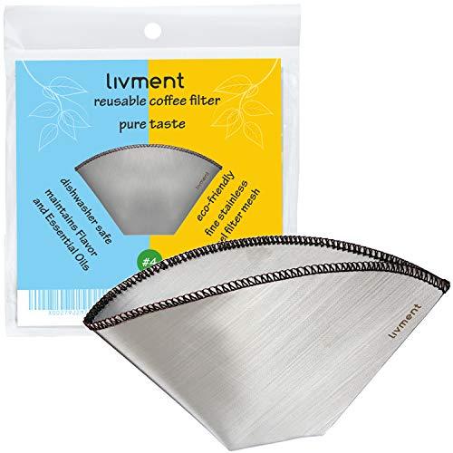 livment filtros de café Reutilizables, Filtro Permanente de Acero Inoxidable   Filtro Permanente...