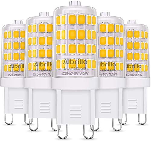 Albrillo Bombillas LED G9 de 3.5W, 40 W Bombilla Halógena Equivalente, Blanco Cálido 3000K, 400LM,...