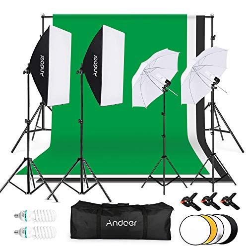 Andoer Kit Fotográfico Estudio,1.8x2.8m Tela de Fondo(Negro/Blanco/Verde) con Sistema de...