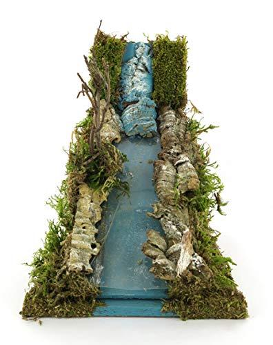 Rápido de Río decorativo - escenario para pesebre de 26x 16x 18cm, accesorios belén