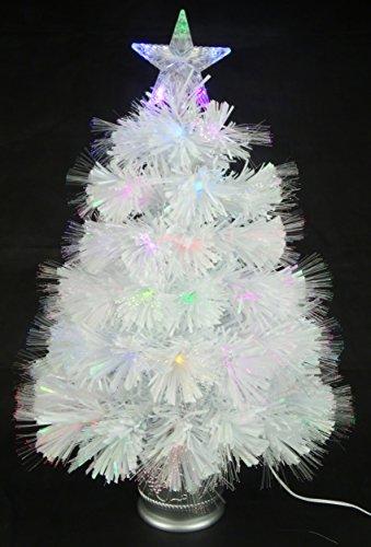 Christmas Concepts® 2ft (60cm) Blanco Iridiscente PVC Fibra Óptica Árbol de Navidad con Cambio de...