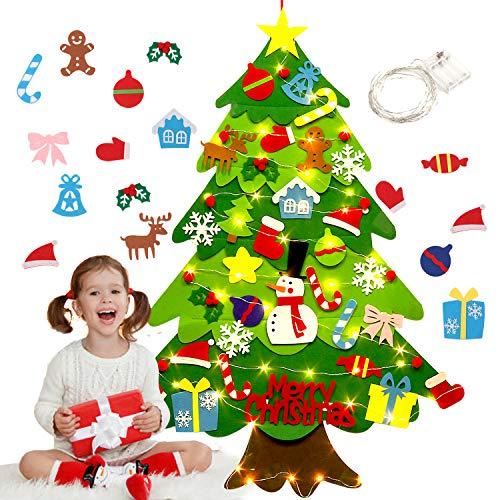 Fieltro Árbol de Navidad,justdolife Árbol de Navidad DIY con 50 Luces LED 28 Unids Adornos Navidad...