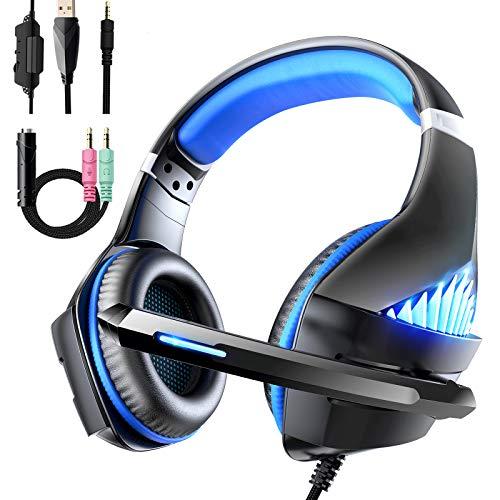 Auriculares Gaming con Micrófono para PS4 Xbox One, Viixm Cascos Gaming Stereo con luz LED & Suave...