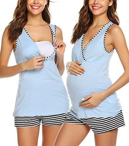 UNibelle Ropa Premamá de Lactancia Algodón Pijama para Mujer Pantalon a Rayas Azul S