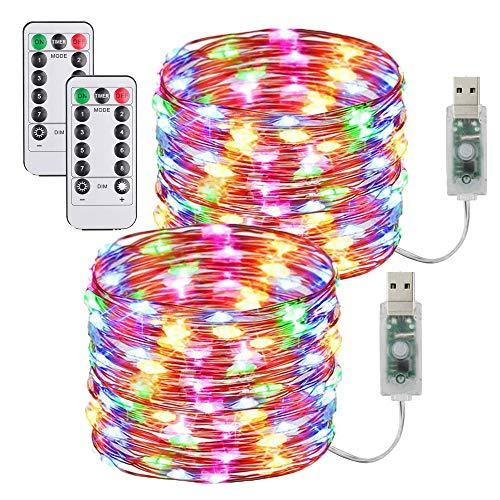 [2 Pack] Guirnaldas Luces Con enchufe USB,10m/100 LED 8 modos Luces de Hadas de 33 pies con Control...