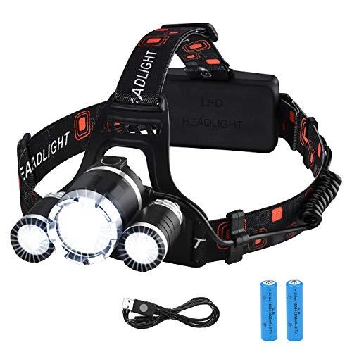 VicTsing Linterna Frontal Recargable LED Alta Potencia 6000 Lúmenes, Linterna Cabeza con 4 Modos,...