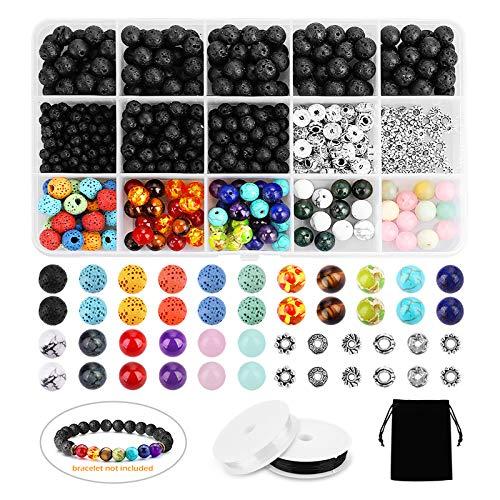 Lava Beads SOLED 526PCS Lava Bead Set Rock Stone, Chakra Beads, cristales en polvo, ágata...