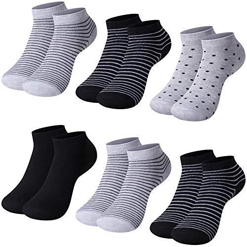 L&K-II Pack de 12 Calcetines para mujer Sneaker Cortos de algodón unisex 92276 35-38