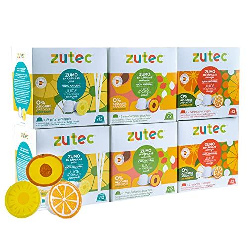 Zutec - Cápsulas de Zumo Surtido (Naranja, Piña y Melocotón) - Compatibles con cafeteras Dolce...