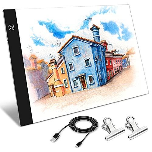 A4 Led Ligero Caja Dibujo Caja de luz artista Ligero Trazador Mesa Almohadilla de seguimiento para...
