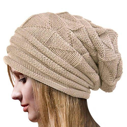 Tuopuda Crochet Invierno Gorro Punto Caliente Cozy Mujeres Grande Sombrero Moda Diseño de Lana...