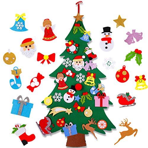 FengRise Árbol de Navidad de Fieltro Plano - 4 pies DIY Árbol de decoración navideña no Tejido...