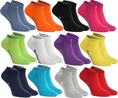 Rainbow Socks - Hombre Mujer Calcetines Cortos Colores de Algodón - 12 Pares - Negro Blanco Gris...