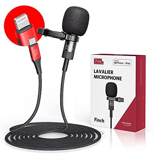 Micrófono de solapa Pixel MFi para iPhone / iPad, grabación omnidireccional y micrófono de solapa...