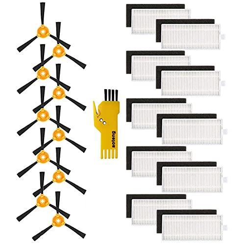 aotengou 10 filtros y 10 cepillos laterales para Lefant M201 M301 M501-A M501-B M520 T700 M571Robot...